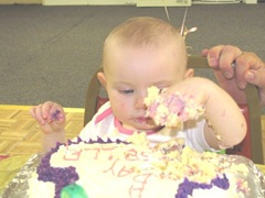 1st birthday Bella cake facegetting started13
