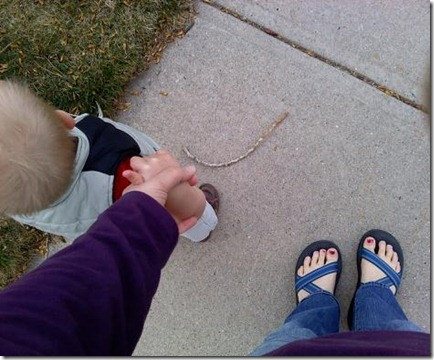 2011-04-04 Nate and Mommy walking (1)