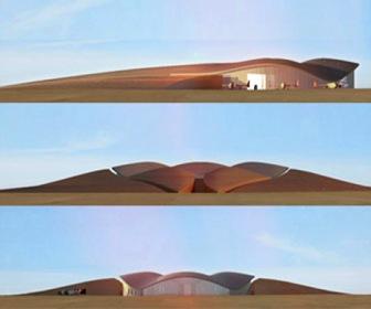 fachada-aeropuerto espacial de Norman Foster en Nuevo México