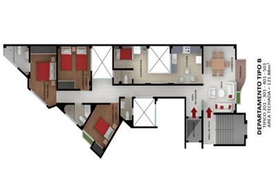 Planos tipo a b departamento moderno edificio los jardines for Departamentos arquitectura moderna