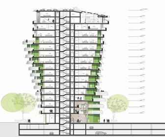 Plano-fachada-Torre-Marco-Polo-Behnisch-Architekten