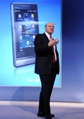 Microsoft CEO Steve Ballmer during a press conference during a Mobile World Congress in Barcelona. Photo: Microsoft