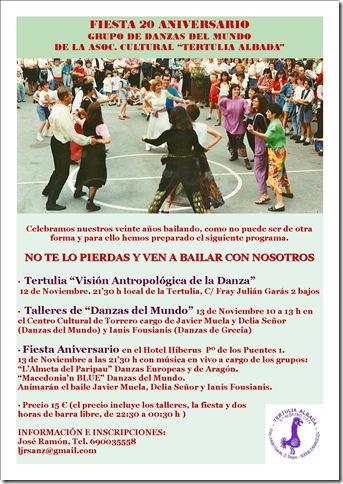 Cartel 20 años asociación cultural tertulia albada