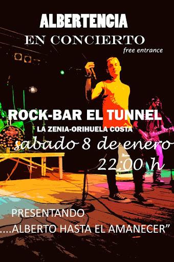 Cartel actualción Albertnecia el 08-01-2011 en pub El Tunnel de La Zenia en Orihuela Costa