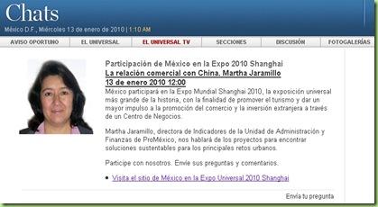 Chat en El Universal sobre la participación de México en la Expo 2010 Shanghái
