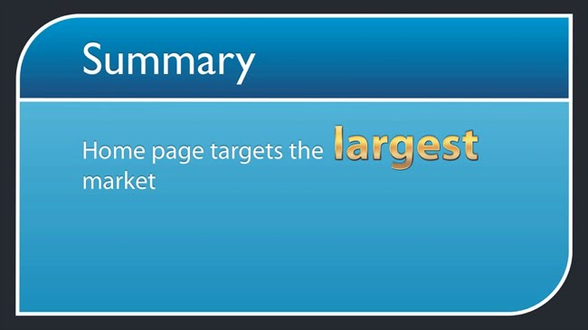 Home page targets largest market