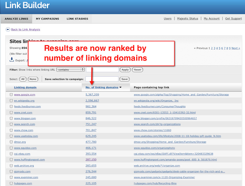 Results in Link Builder are now ranked by linking domain