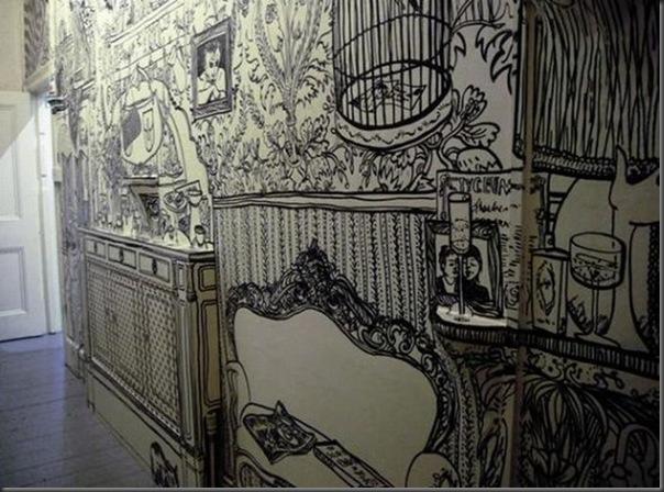Arte em preto e branco com marcador em parede