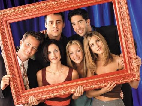 cima: Chandler, Joey, Ross; baixo: Monica, Phoebe, Rachel