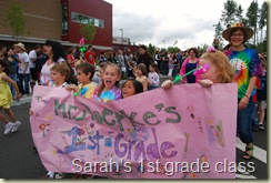 Sarah's class parading at high school