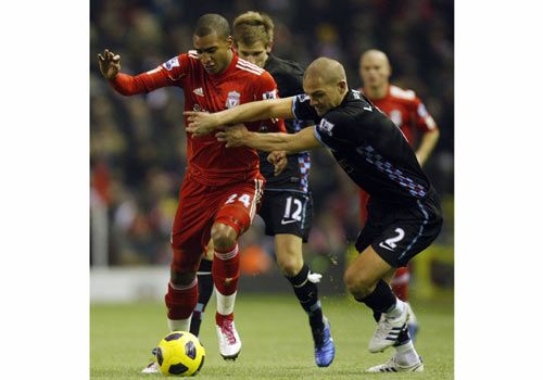 David Ngog and Luke Young, Liverpool - Aston Villa
