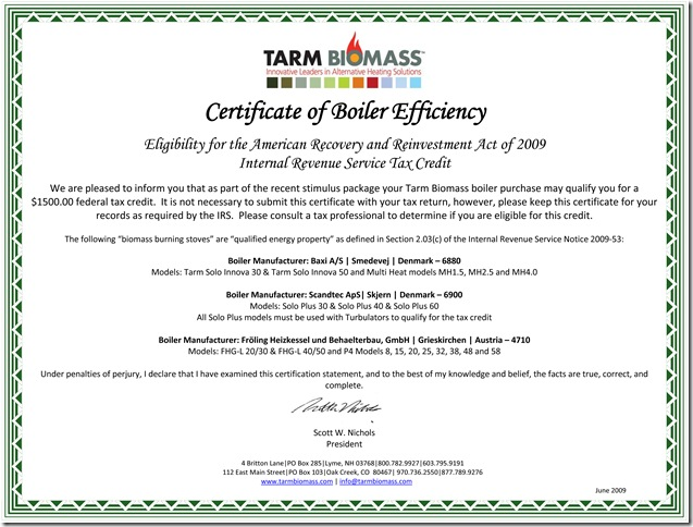 Certificate of Boiler Efficiency Tarm Biomass August 5, 2010