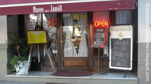 "Side entrance of the restaurant ""Museo del Jamon"" located in Calle Cerrito, next to the world's biggest avenue, ""Avenida 9 de Julio"", Buenos Aires"
