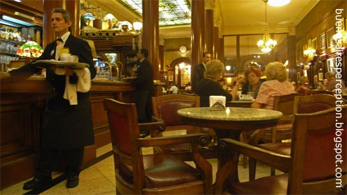 Old Ladies are having their Afternoon Tea in the traditional Café Tortoni located in the Avenida de Mayo in the Microcentro Neighborhood in Buenos Aires, Argentina