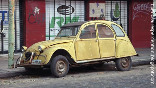 Used Yellow Citroen 2CV Dolly in the streets of Palermo, Buenos Aires