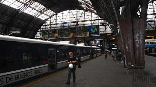 Train to Bartolomé Mitre station in Buenos Aires' main station Retiro