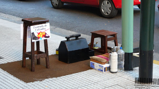 Shoe Shine Stand in the streets of Buenos Aires, Argentina