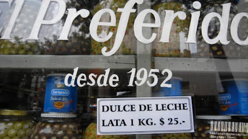 Dulce de Leche 1KG Portions in a Shop Front Display in Buenos Aires, Argentina