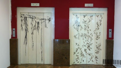 Artfully Decorated Elevator Doors in the Centro Cultural Borges in Buenos Aires, Argentina