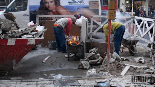 Street Asado at a Construction Site in the Once Neighborhood in Buenos Aires, Argentina