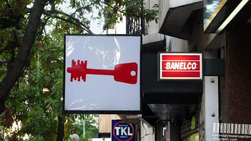 Banelco Safety Deposit Box Sign in the Streets of Buenos Aires, Argentina