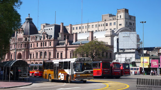 Constitution Square Station with Colectivos in the Constitución neighborhood in Buenos Aires, Argentina