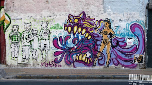 Stencil Pieces and Graffiti in Buenos Aires, Argentina