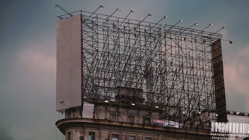 Empty Billboard Structure on Top of a Building in Buenos Aires, Argentina