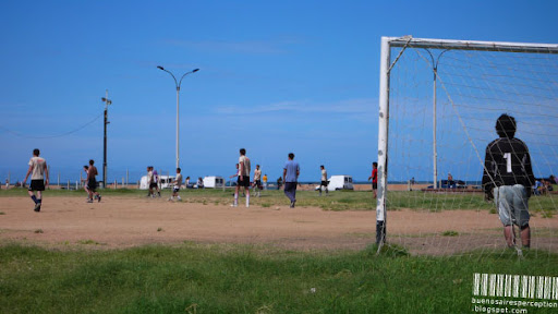 Young Uruguayans Playing Soccer in Ciudad Vieja of Montevideo, Uruguay