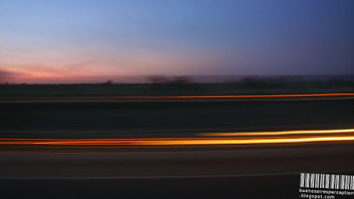 Lines of Light like a Tail of Fire and Sparks on the Road in Argentina