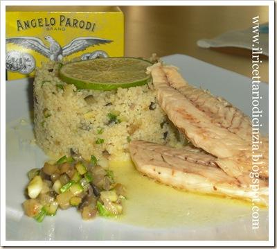 Cous cous con brunoise di zucchine e melanzane e sombro Angelo Parodi