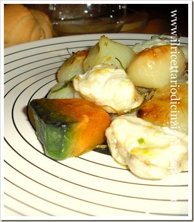 Coda di rospo con cipolline e zucca