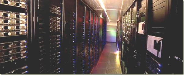A cold aisle in the Ancestry.com data center