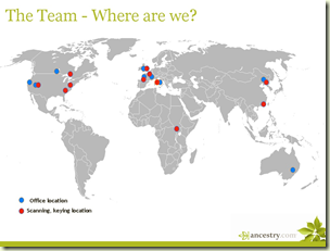 A map of Ancestry.com locations from May 2009