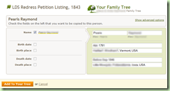 Save record to tree doesn't allow event specification or addition of missing fields