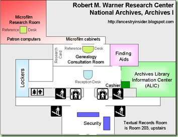 NARA Archives I Research Rooms Map