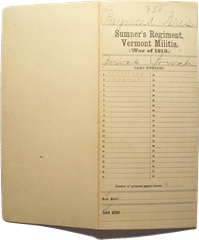 Envelope of a soldier&#39;s compiled military service record with flap open