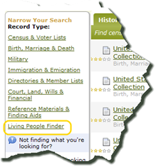 Link to Living People Finder
