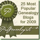 Top 25 genealogy blogs award from ProGenealogists