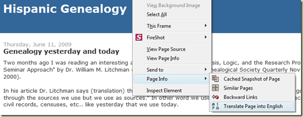 With the Google toolbar installed, translate a page by right clicking, then Page Info, then Translate Page