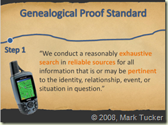 Genealogical Proof Standard Step 1