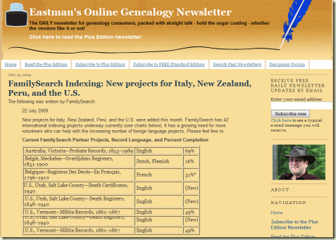 Eastman's Online Genealogy Newsletter preserved tables from FamilySearch press releases
