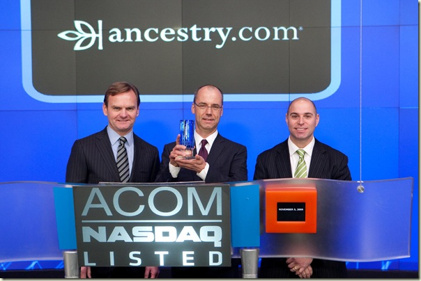 Tim Sullivan celebrates Ancestry.com IPO on NASDAQ