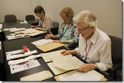 NARA volunteers prepare Civil War case files for digitization. Photo courtesy of Earl McDonald, National Archives.