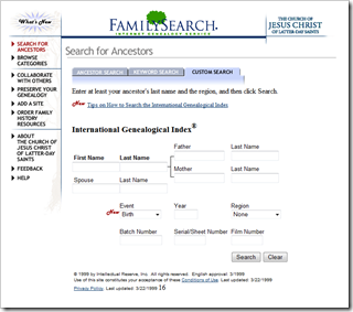 FamilySearch.org and the Internet IGI were introduced in 1999