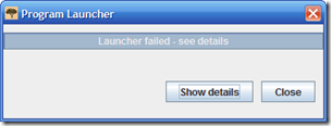 Launcer failed notice from FamilySearch Indexing program.