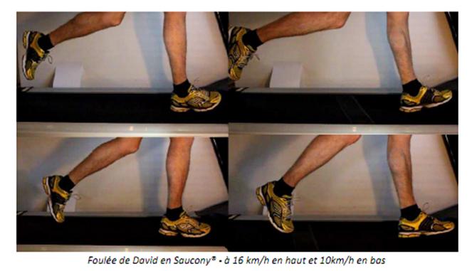 Foulée de David en Saucony à 16 km/h en haut et 10km/h en bas