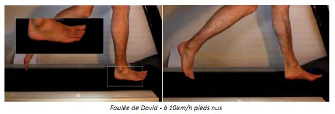 Foulée de David - à 10km/h pieds nus