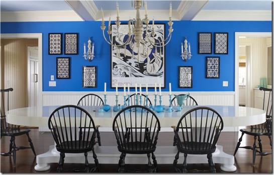 Casa de Valentin - decor de Michael Pertenio - azulão na parede da sala de jantar
