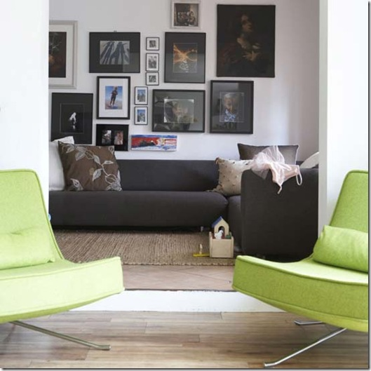 Muitos quadros na parede. Foto da Living Etc (www.livingetc.com)